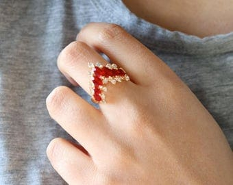 Red Crystal Gold Ring - Pointed Crystal Ring - Size 7.5 Women Ring - Crystal Ring