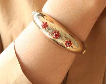 Vintage Gold Cuff - Thick Gold Cuff - Red Crystal Floral Cuff - Statement Cuff