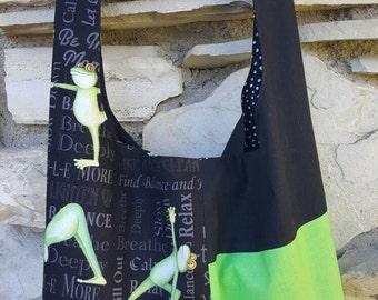 Yoga frogs crossbody hobo bag, yoga hobo bag, slouch bag, gym bag, reversible hobo bag, boho bag, hippie bag, hobo purse, handbag, handbags