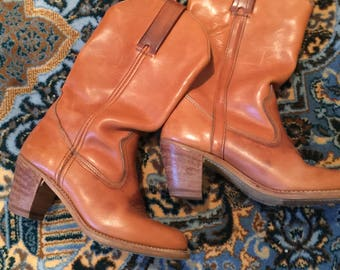 Tan Leather Boots by DEXTER size 7