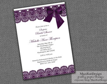 Plum Lace + Bow Bridal Shower Invitation