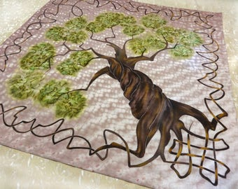 Cotton square hand painted scarf Celtic Tree of life Mens bandana Head neck scarf Brown green Travel accessory Traveller neckerchief