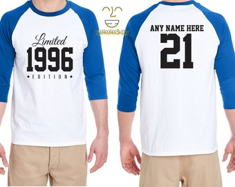 21st Birthday Gift for Men and Women Personalized Limited Edition Birthday Celebration 21 Year Old Raglan Baseball Tee Shirt Birthday 1996