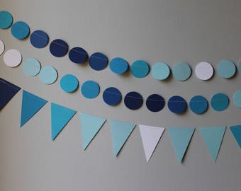 ANY COLOR- circle triangle paper garland banner bunting... first birthday decorations - red orange yellow blue green purple gray boy girl  1