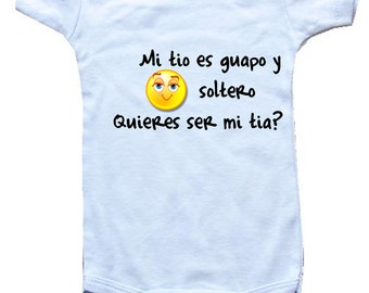Spanish bodysuit etsy baby one piece personalized gifts spanish mi tio es guapo y soltero negle Images