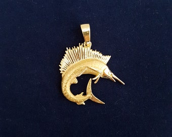 Handmade Marlin Pendant with Awesome Detail in solid 14k Yellow Gold -EB622