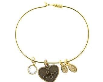 Gold Mom Bracelet with Swarovski Crystal
