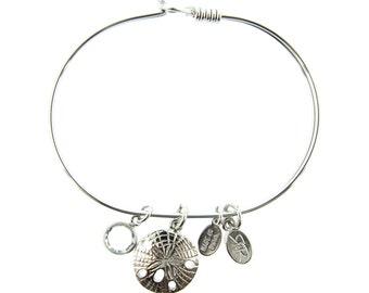 Silver Sand Dollar Bracelet with Swarovski Crystal