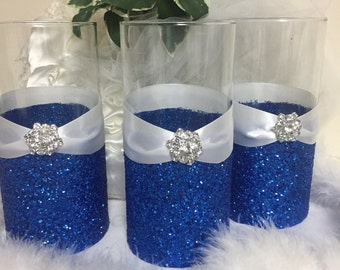 Wedding centerpiece, glitter vase, bridal bouquet holder, bridesmaid bouquet holder, bling wedding, royal blue wedding, candle holder