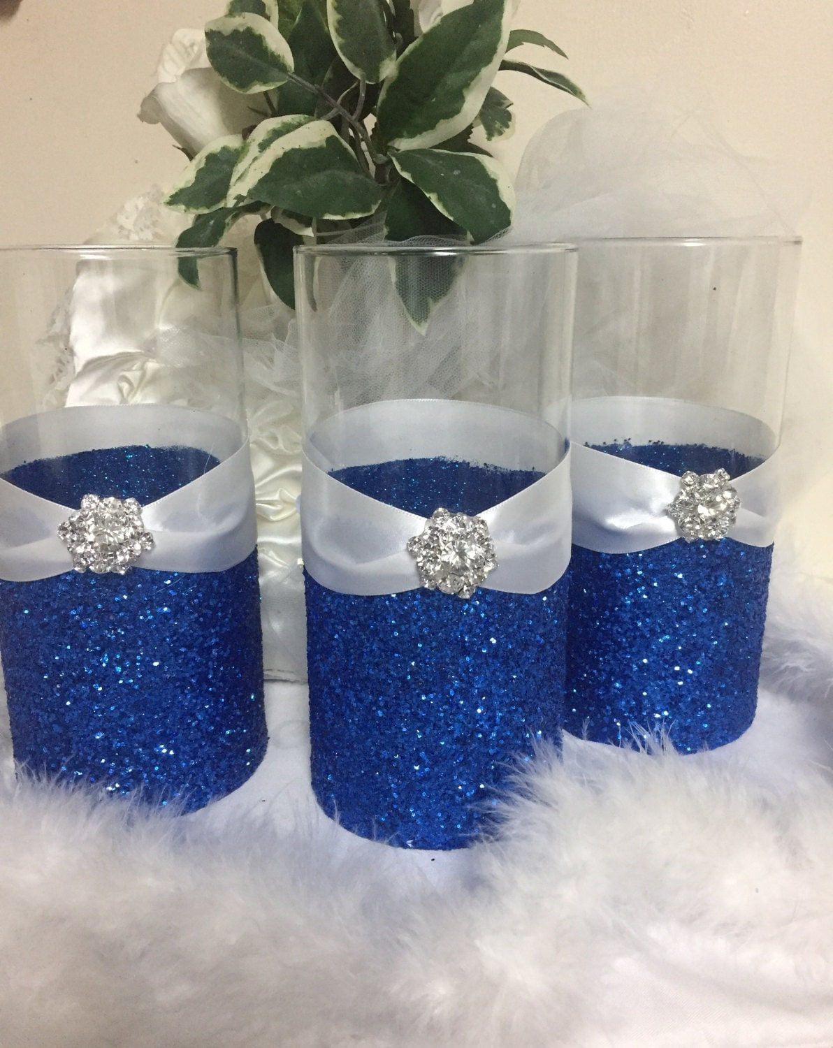 wedding centerpiece glitter vase bridal bouquet holder. Black Bedroom Furniture Sets. Home Design Ideas