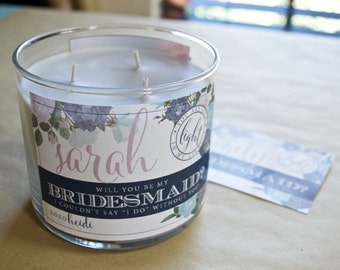 Will You Be My Bridesmaid? Custom Candle Label (Lilac & Blue)