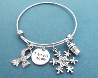 I smell snow, Snowflake, Coffe, Cup, Muffler, Silver Bangle, Bracelet, Gilmore, Jewelry, Birthday, Best friends, Christmas, Gift, Jewelry
