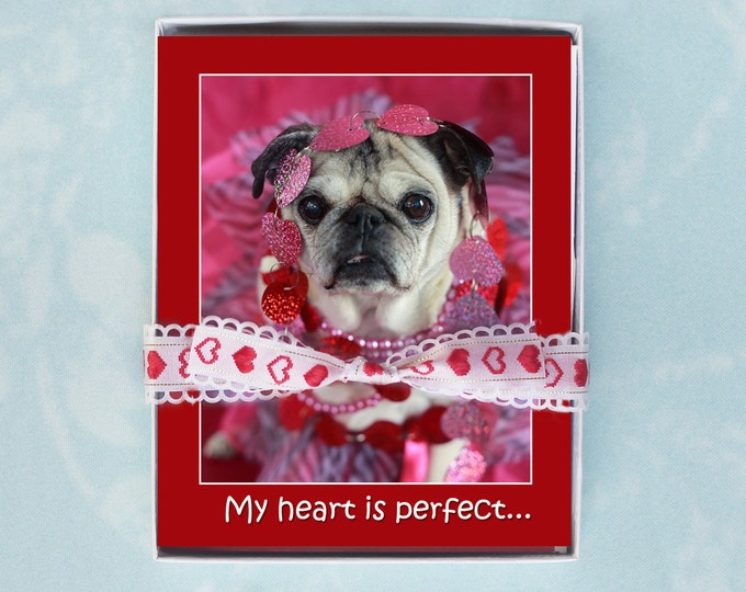 10 PACK 4x5 Note Cards -  My Heart is Perfect - Sweet Valentines Cards