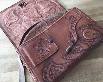 Vintage Reversible Hand Tooled Leather Shoulder Purse