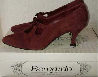 Vintage Bernardo Suede High Heels in Burgundy, Leather Pumps, Size 7.5