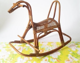 Gorgeous, Vintage Rattan and Cane Mid Century Rocking Horse