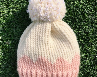 Handmade soft pink scalloped hat with gold flecked pom pom