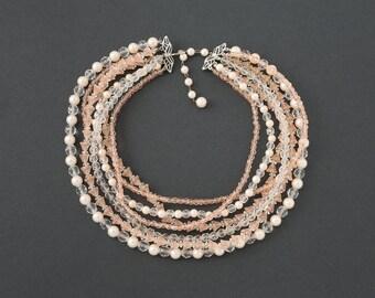 Vintage Marvella  Seven Strand Bead Necklace