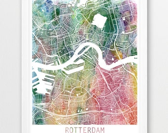 Rotterdam City Urban Map Poster, Rotterdam Street Map Print, Rotterdam Netherlands Watercolor Map, Modern Wall Art, Home Decor Printable Art