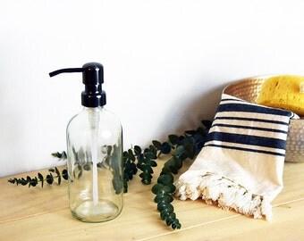 Glass Soap Dispenser, Clear Jar Soap Dispenser, Apothecary Jar, Clear Apothecary Jar Soap Dispenser, Farmhouse Decor, Farmhouse Dispenser