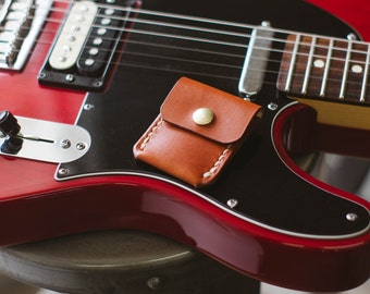 Guitar Pick Holder - Chestnut - Legacy Brand Leather Hand Stitched
