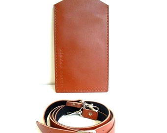 Tan Leather Phone Case with detachable shoulder strap