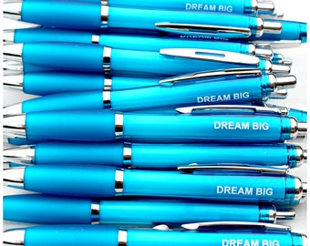 Dream Big Pen | Black Ballpoint Biro | Blue | Stationery | Present Fillers | Office Supplies | Party Favours | Gift | Fun | Aim High | Goals