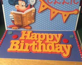 Mickey Mouse Birthday Card, Fantasia Birthday card, Disney Birthday card, Mickey Mouse card, pop up card, pop out card, disney birthday,