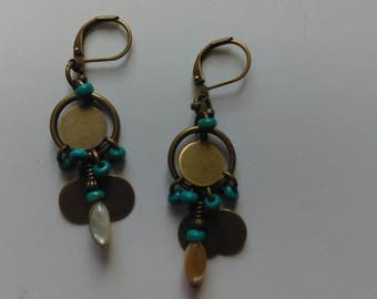 Handmade bronze turquoise earrings