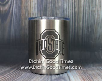 Ohio State Polar Camel 10 oz. OFFICIALLY LICENSED Stainless Steel Vacuum Insulated Tumbler w/Clear Lid with Personalization