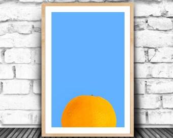 Peekaboo Print, Orange Print, Orange And Blue Wall Art, Peek Print, Large Abstract Poster, Eat Your Fruit, Mr Orange Art, A Clockwork Orange