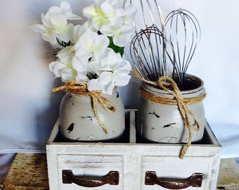 Rustic Mason Jar Decor - Mason Jar Centerpiece - Rustic Kitchen Decor - Neutral Rustic Mason Jar kitchen decor - Rustic Hostess Gift