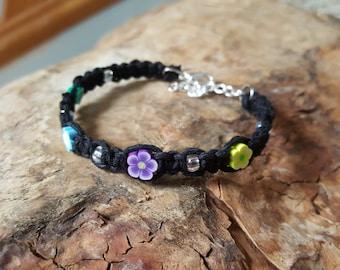 Kids Hemp Bracelet, Flower Bracelet, Adjustable, Flower Girl Jewelry, Gift for Daughter, Hemp for Kids, Femo Flowers, Adjustable Kids Hemp