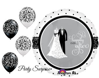 Wedding Balloons Bride and Groom Happily Ever After Damask Engagement Party Bridal Shower Rehearsal Dinner Reception Wedding Balloon bouque
