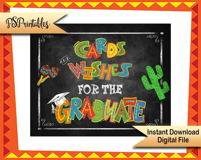 Fiesta Graduation sign, cards and wishes, cards for graduate sign, DIY grad decor, Grad party sign, diy grad signs, graduation fiesta sign