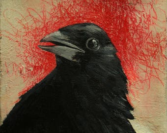 Small original art, painting of a crow's head, black bird painting, raven, black red beige, acrylic on canvas, 4x4 inches, art ready to hang