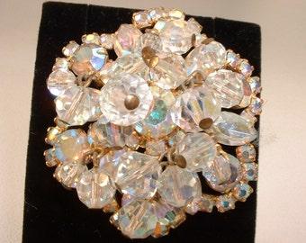 Vintage Juliana A/B Rhinestone w/ Dangling Crystals Pin Brooch  (E93)