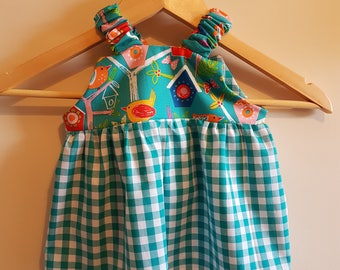 Green Birds / Teal & White Gingham Baby Dress with Matching Bloomers - Age 6-12months