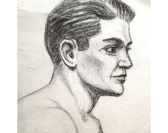 Charcoal Sketch, Head of Young Man by Artist Joseph Kelly, 1939