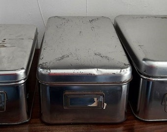 Set of 3 old iron boxes