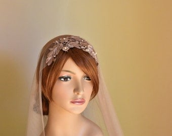 bridal veil nude veil champagne veil wedding veil juliet veil vintage