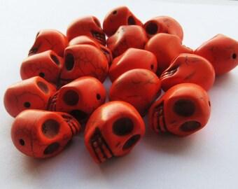 Large Orange Howlite Skull Beads 18mm