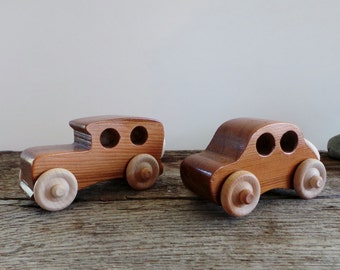 Wood Toy Cars- Set of 2 Small Handmade- Eco Friendly-Push Pull Toy