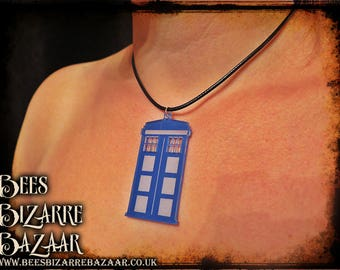 Tardis Necklace - Laser Acrylic - Dr.Who