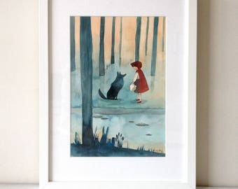 FINE ART Limited Print DIN A4 cm from my watercolor illustration Red Ridding Wood
