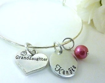 Granddaughter Jewelry Grand Daughter bracelet Personalized Granddaughter Necklace Expandable Hand stamped Jewelry