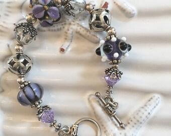 Handmade Purple and Black Lampwork Beaded Bracelet 7 Inches