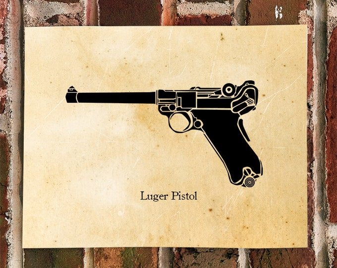 KillerBeeMoto: Vintage German Luger 9MM Pistol Print