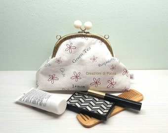 Cosmetic bag purses with metal closure
