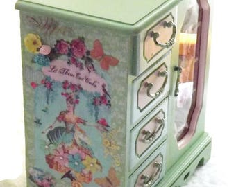 """MBS Jewelry Box, Hand Painted Mint Green Vintage Jewelry Armoire, """"Let Them Eat Cake"""" Marie Antoinette Themed Jewelry Box, Jewelry Storage"""